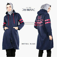 HijaBenka Sweater Hoodie Zipper HiJacket Royal Blue ANDHIMIND