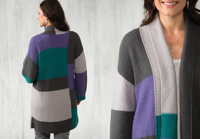 Color Block Cardigan Knitting Pattern sweater knitting patterns