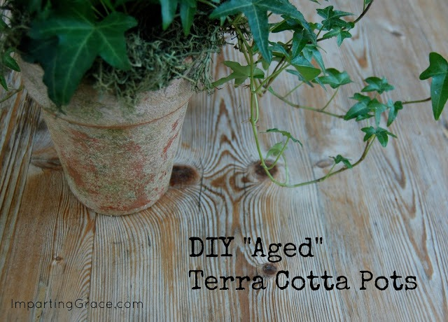 "Did you know that you can easily give clay pots a beautiful, ""aged"" patina? Here's how to do it!"