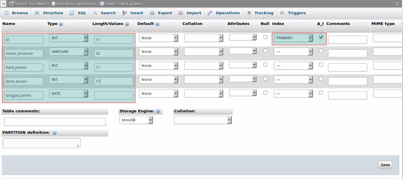 Skema database pertanian