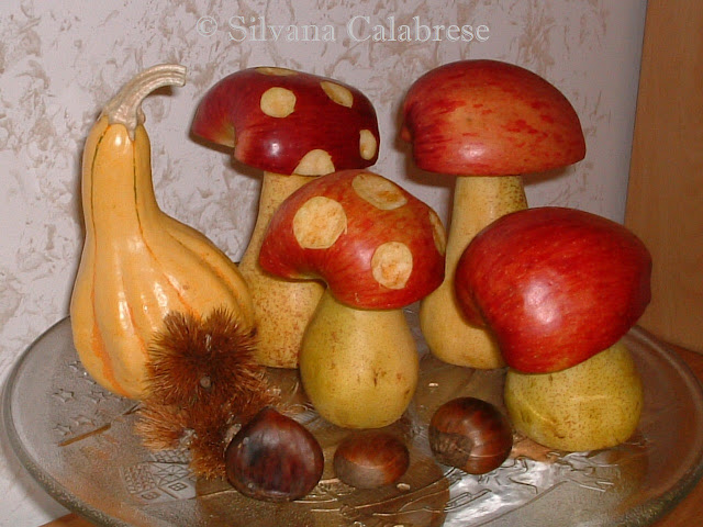 Intagli frutta verdura funghi mele pere Silvana Calabrese Blog