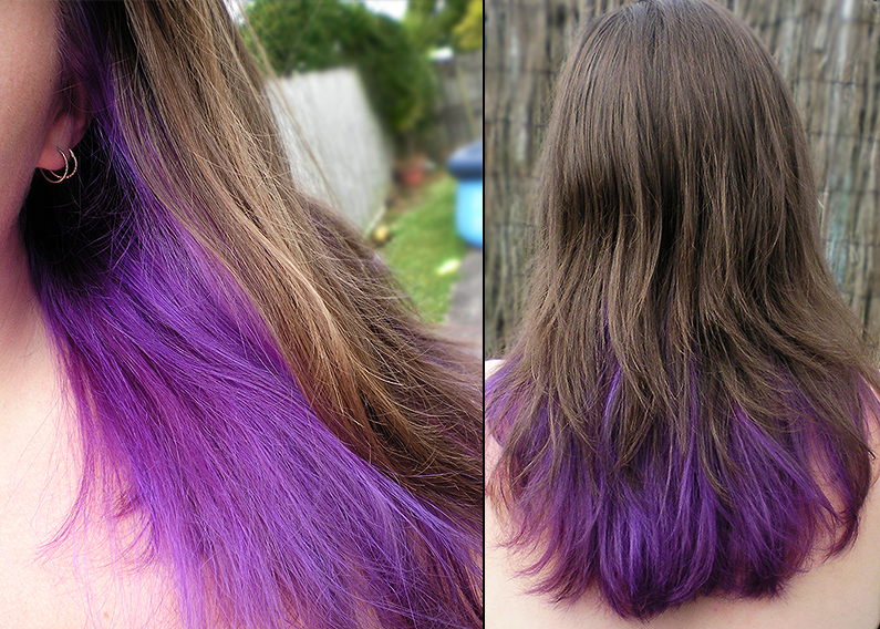 Dark Brown Hair Dyed Tips Hair Color Highlighting And Coloring