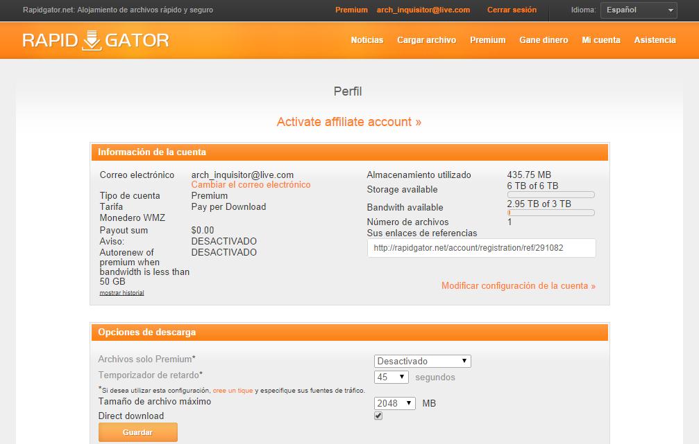 Cuentas premiums uptobox depfile rapidgator x7 02 octubre 2014