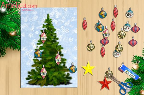 Аппликация елочка на Новый год для детского сада