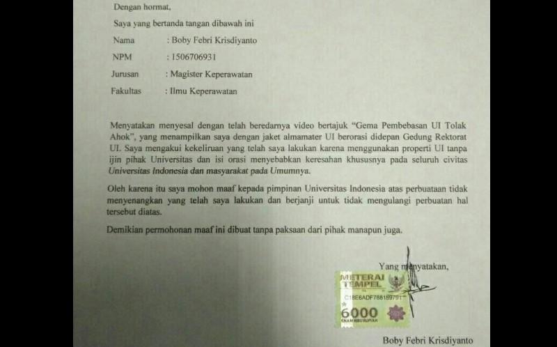 Surat permitaaan maaf Boby Febry Krisdiyanto