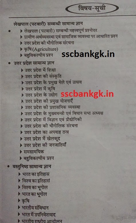 UP Lekhpal Exam Syllabus Subject wise