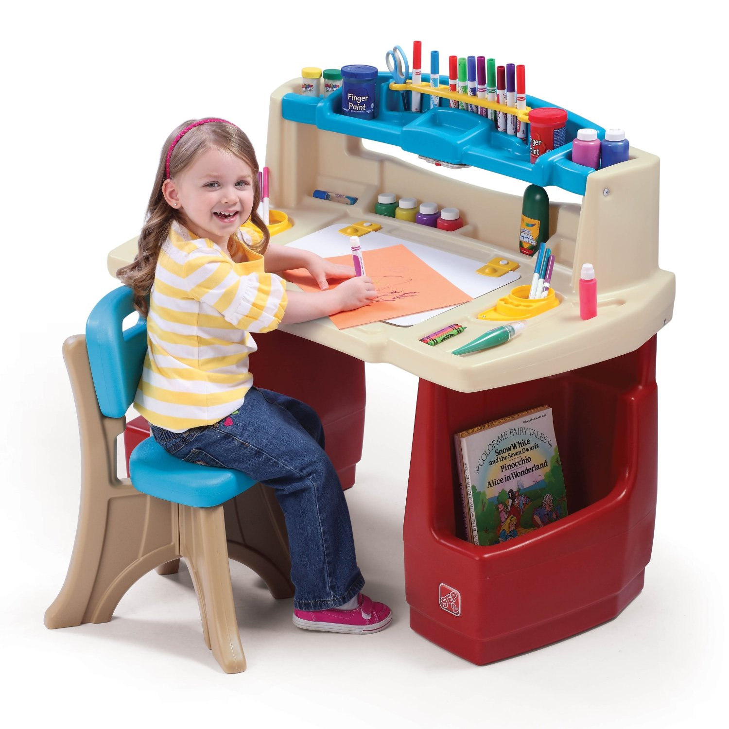 Toddler Art Desk With Chair Set Molded Plastic Supply Storage