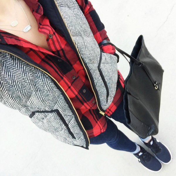 herringbone vest, buffalo plaid shirt