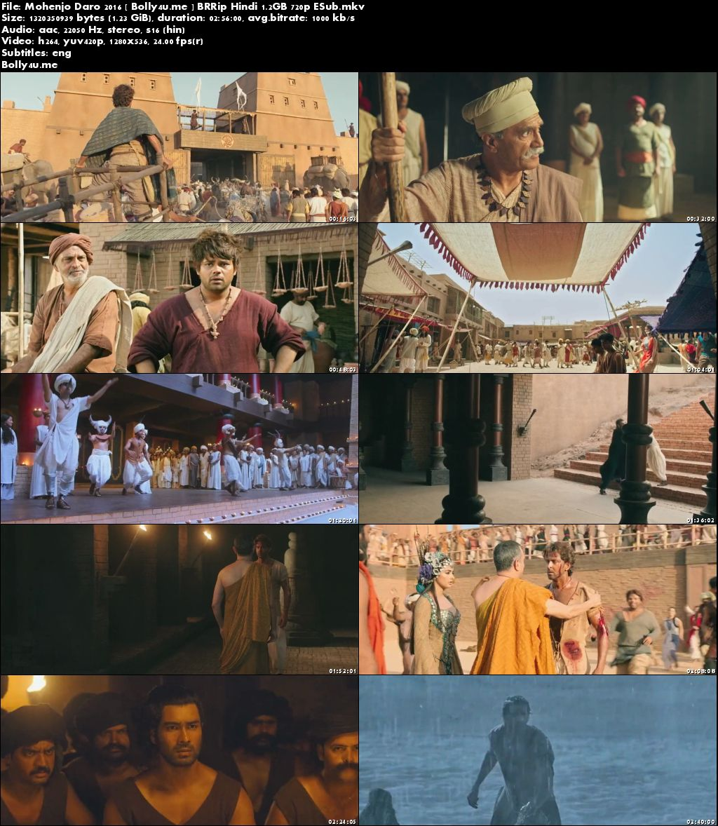 Mohenjo Daro 2016 BRRip 500MB Full Hindi Movie Download 480p ESub