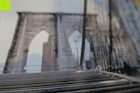 zoomen: Poster NEW YORK - Schönes Manhattan Wandbild der Brooklyn Bridge in schwarz weiß - Hochauflösender Manhattan Skyline Kunstdruck im Format 120x80 cm