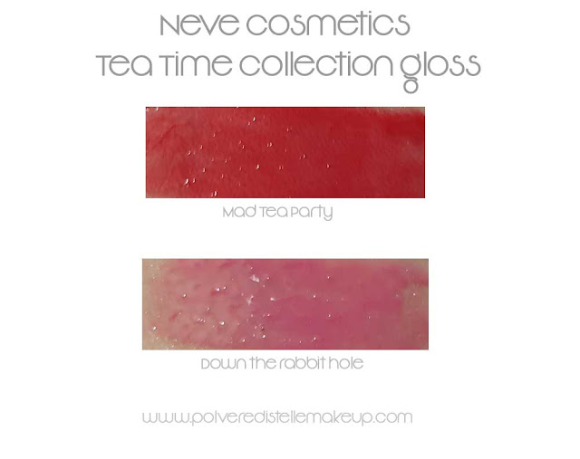 Neve Cosmetics gloss Tea Time Collection swatches