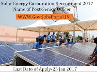 Solar Energy Corporation Recruitment 2017 For Senior Officer Post