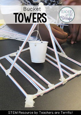 STEM Challenge is to build a tower with a suspended bucket that will hold weight!