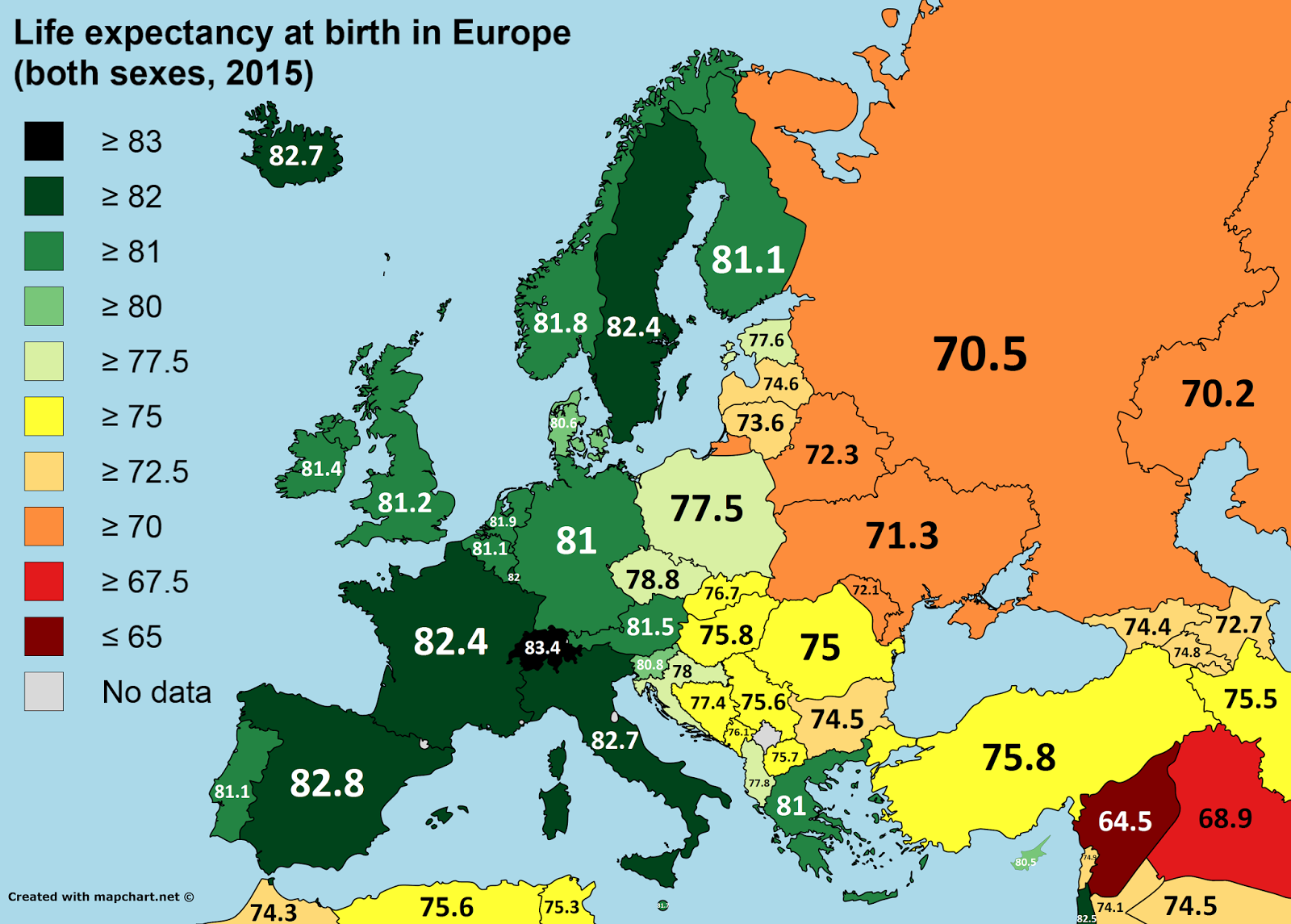 Life expectancy at birth in Europe (2015)