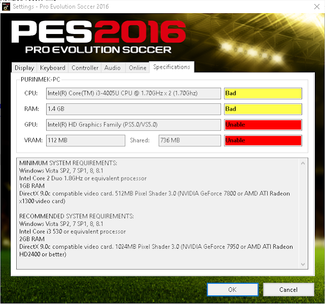 How to cope with VGA and VRAM is not detected On PES 2016