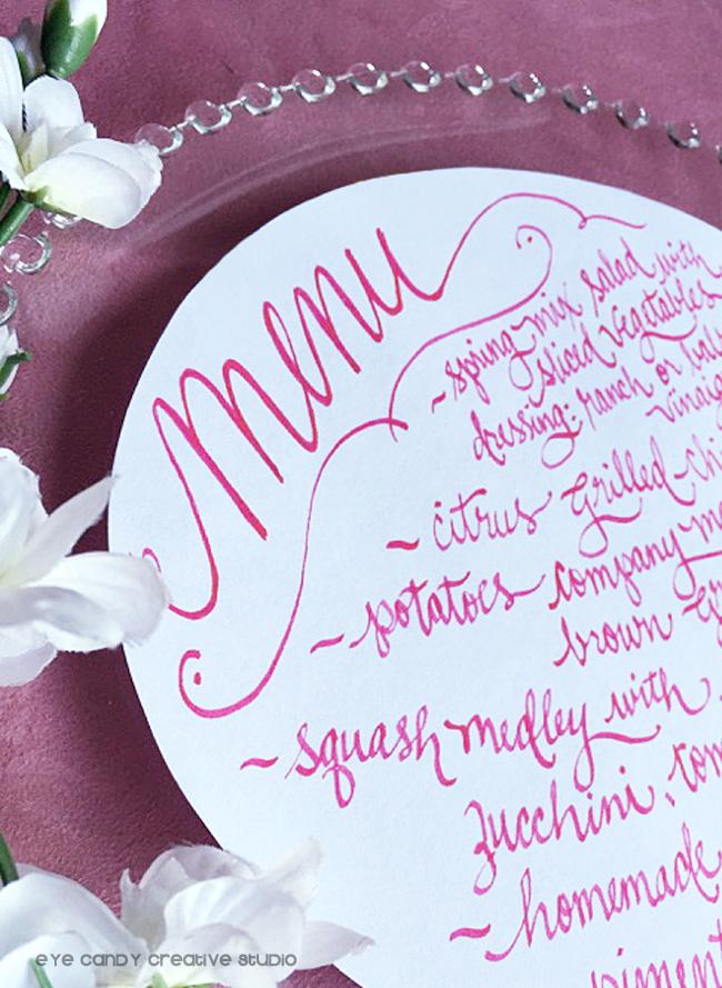 circle menu design, hot pink ink, round menu design, hand lettered menu
