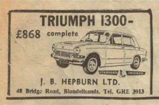 Triumph 1300 advert by J B Hepburn Ltd