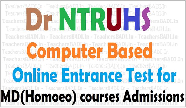 Dr NTRUHS Entrance Test,MD(Homoeo) Courses admissions