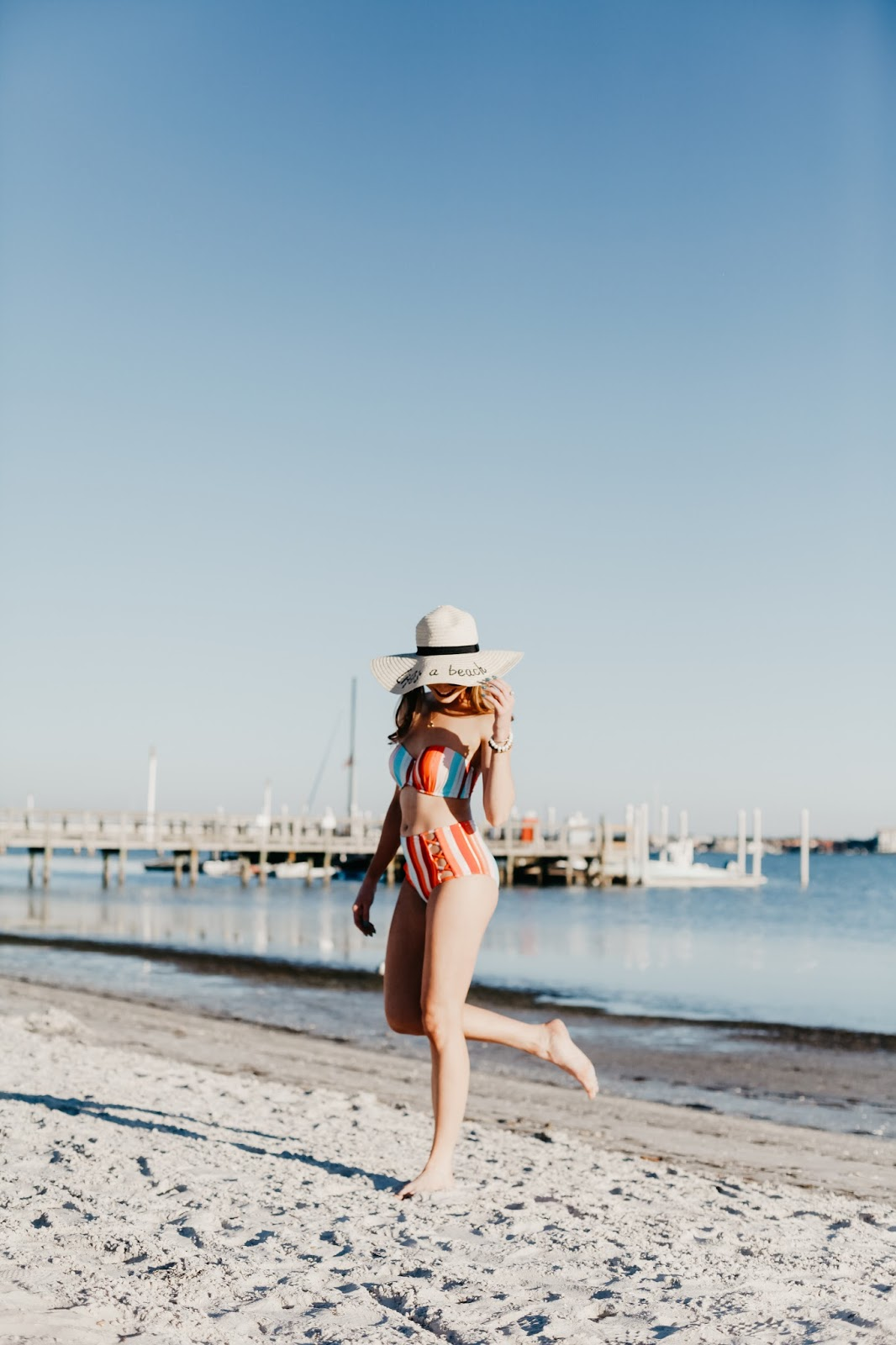 7fa37396dc7 Affordable by Amanda  How to Style a Floppy Hat + Striped Swimsuit ...