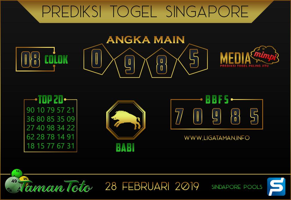 Prediksi Togel SINGAPORE TAMAN TOTO 28 FEBRUARI 2019