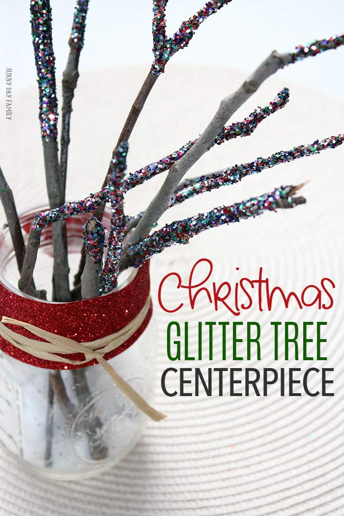 A DIY Christmas Glitter Tree that's so easy kids can help make it! #christmasdecor #christmascrafts #holidaytable #naturecrafts