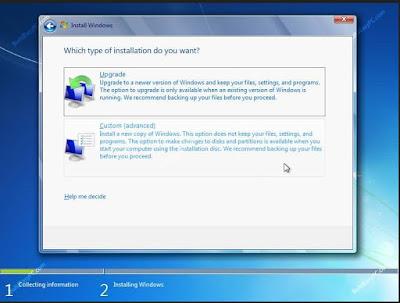 Windows 7 Custom installation