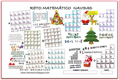Alfamética, Criptoaritmética, Criptosumas, Criptogramas, Juego de letras, Navidad, Problemas matemáticos, Desafíos matemáticos