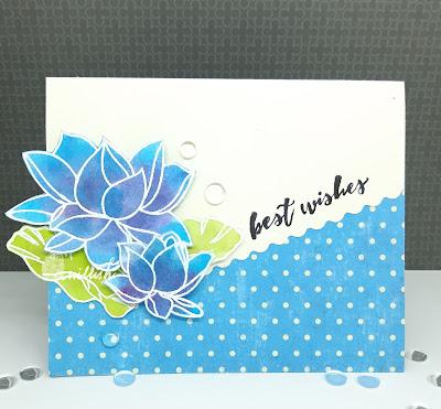 distress ink smooshing, ranganjali lotus stamp, lotus card, blue flower card, cards by ishani, quillish