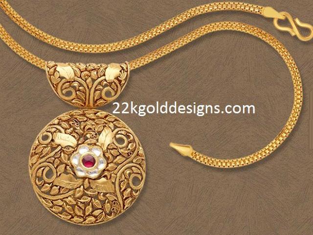 Round Antique Gold Pendant