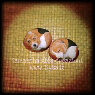 Cani sassi beagle dipinti