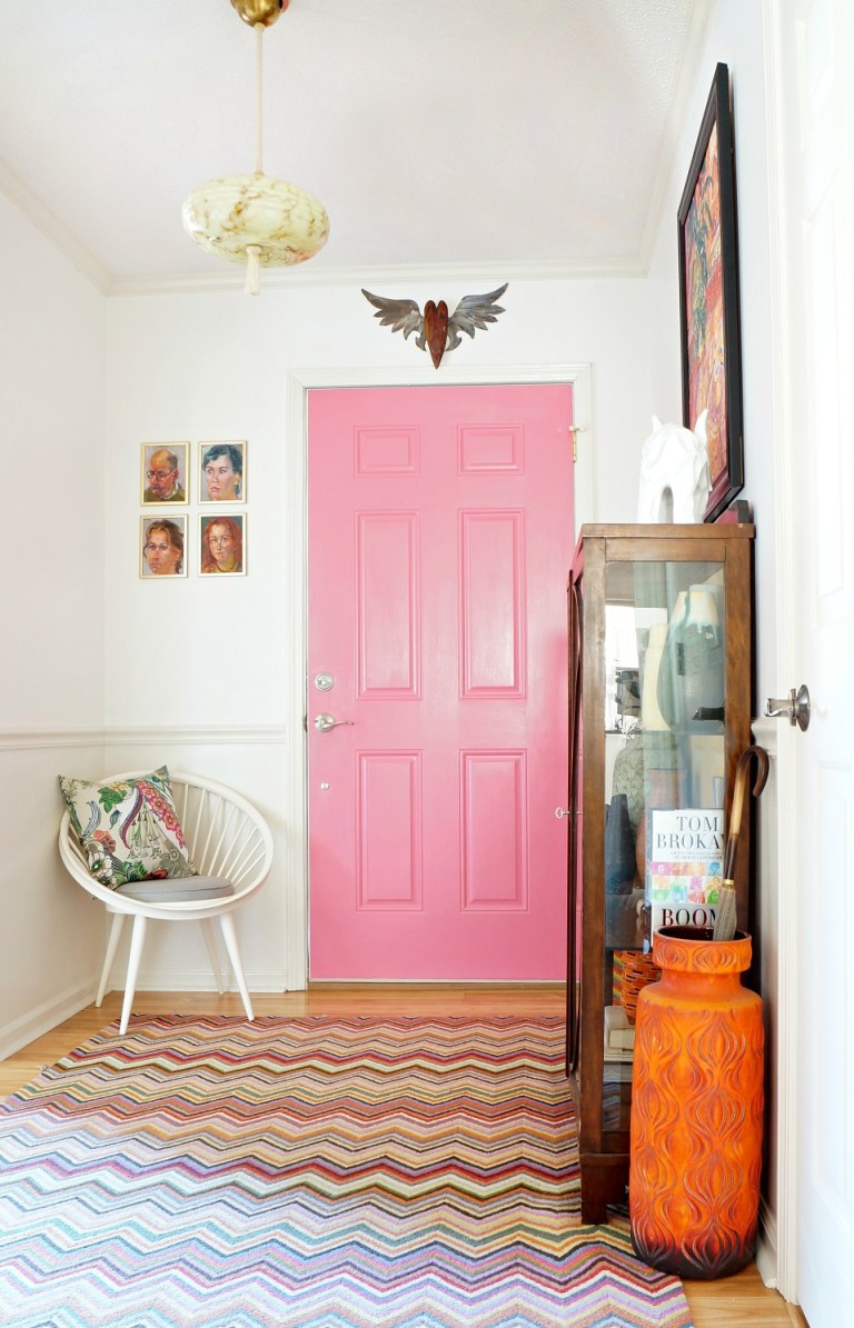 pink painted interior door