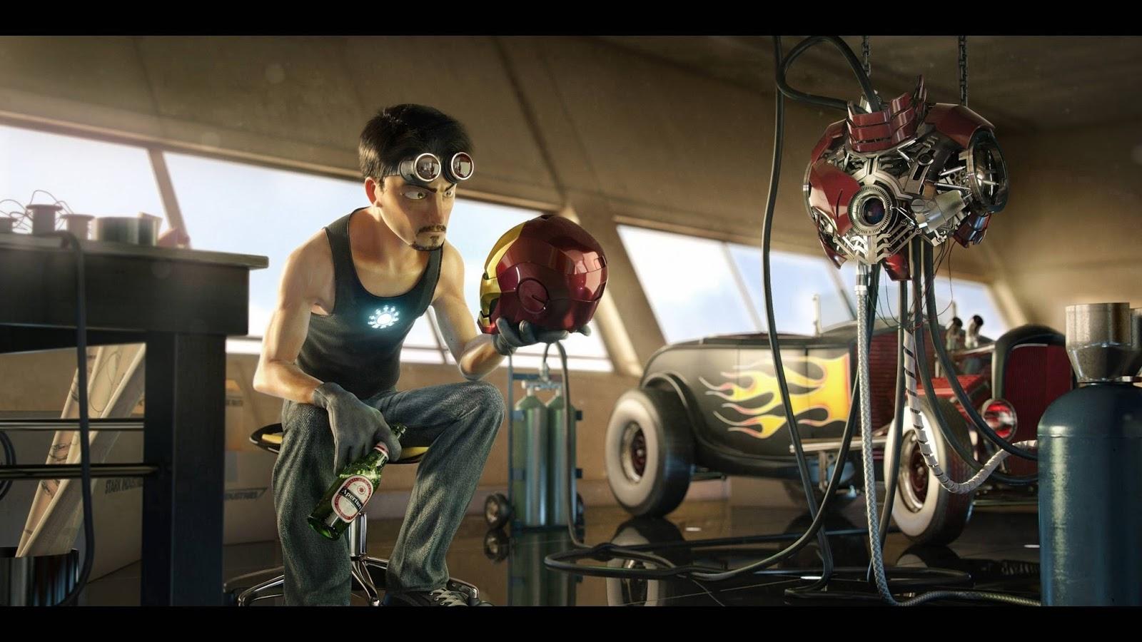 Wallpaper Kartun Iron Man 3d Ultra View Imaging