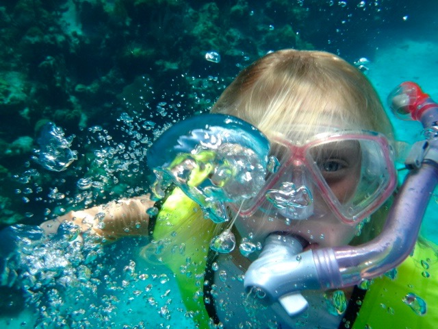 Audrey snorkeling