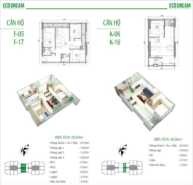 Thiết kế căn hộ loại F và K chung cư Eco Dream
