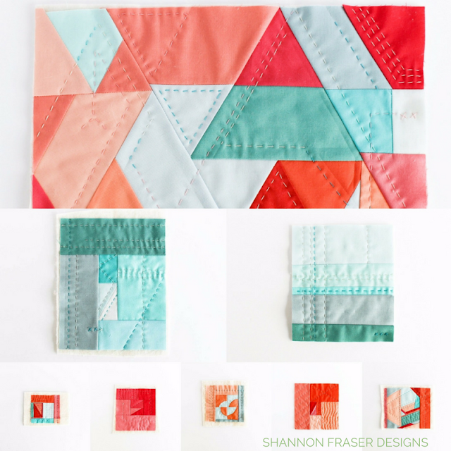 Hand Quilted Modern Mini Quilts | Improv Quilting | Big Stitch Hand Quilting | Shannon Fraser Designs | Modern Quilting | Color | Kona Cotton | Solids Quilt | Textile Art