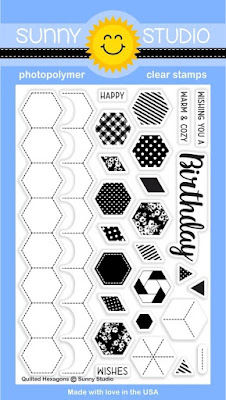 Sunny Studio Stamps: Introducing Quilted Hexagons Background Building 4x6 Photopolymer Clear Stamp Set