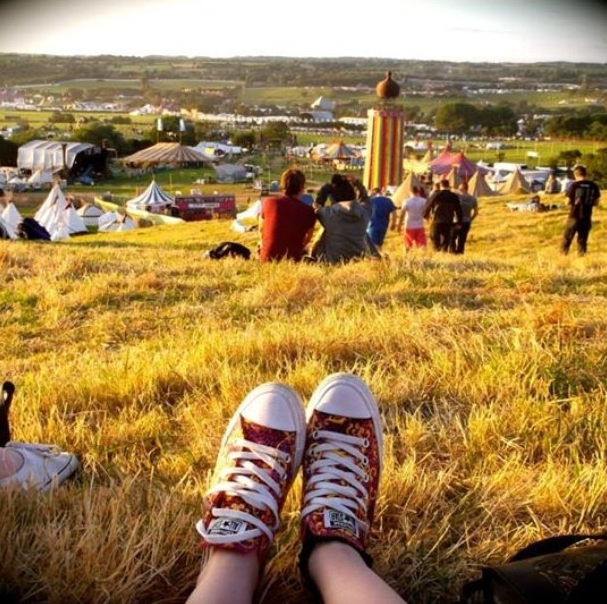 Multi-color converse in Glastonbury field