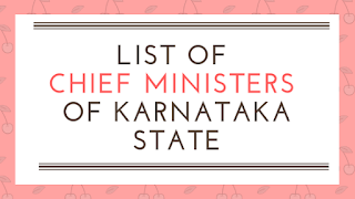 List of Chief Ministers (CM) of Karnataka State