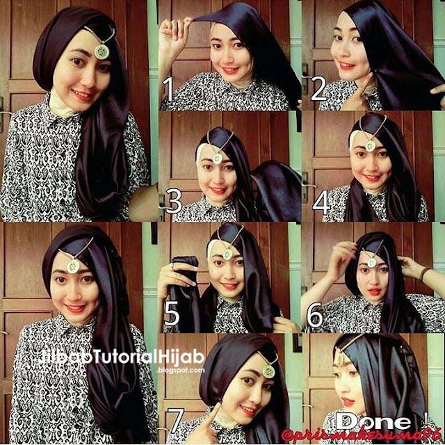 Tutorial Hijab Pashmina untuk Pesta Model Turban Glamour Terbaru