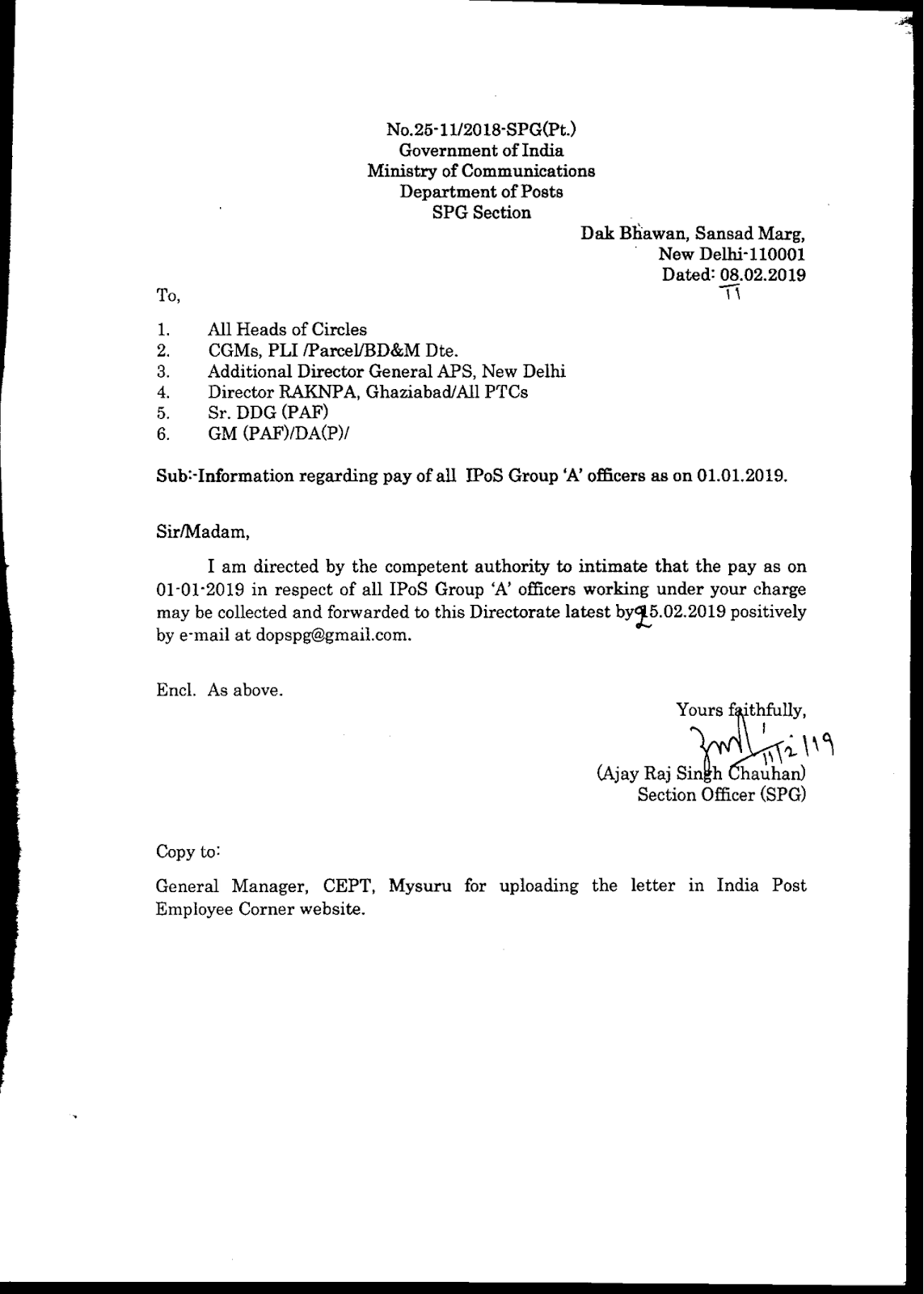 Information regarding pay of all IPoS Group A Officers
