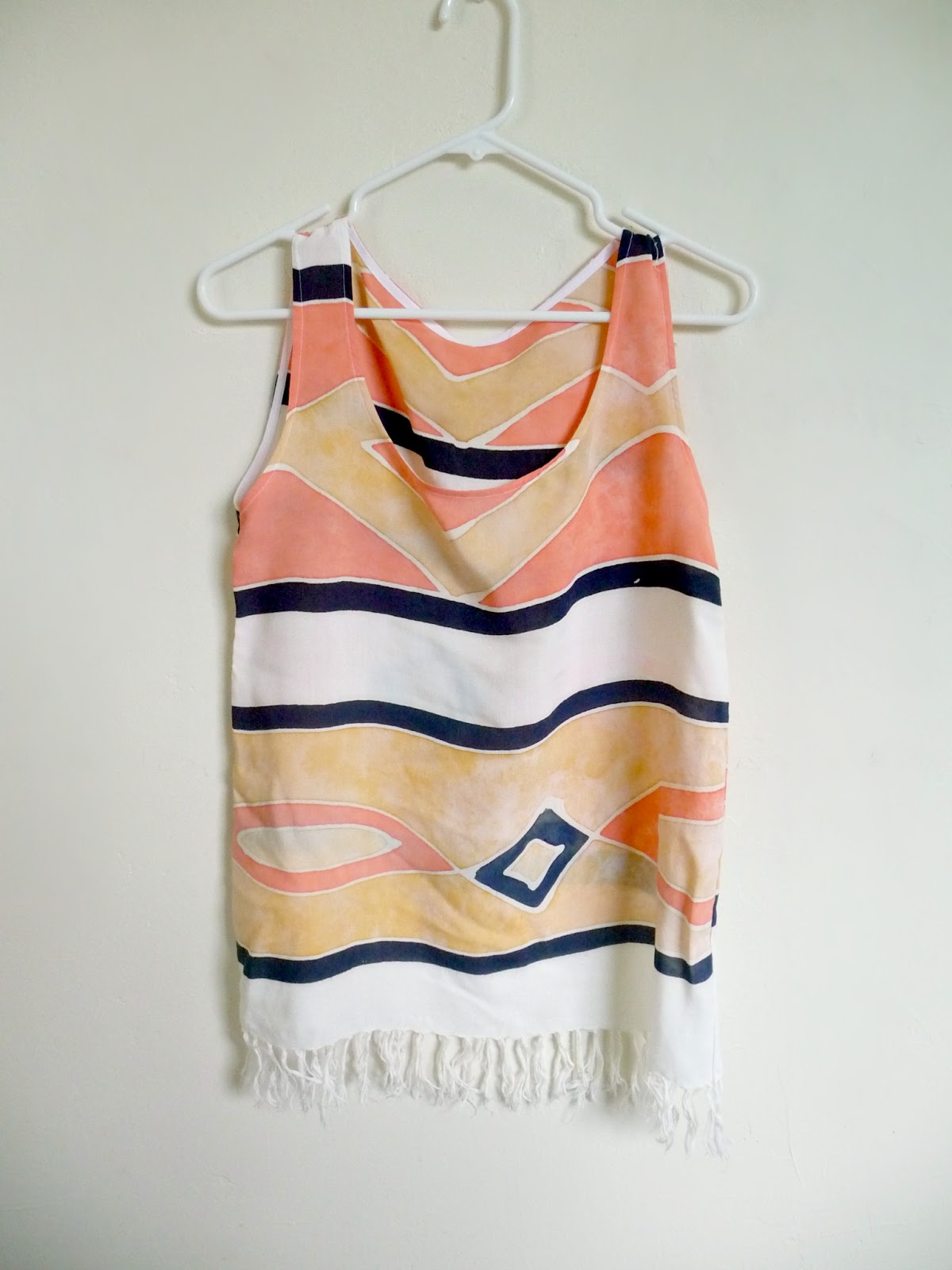 scarf to tribal tank top refashion