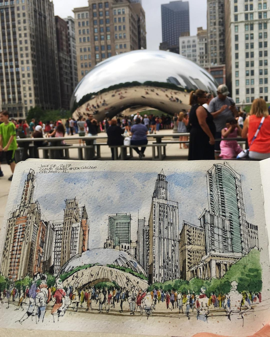 04-Cloud-Gate-Josiah-Hanchett-Urban-Sketcher-taking-in-the-views-and-Drawing-them-www-designstack-co
