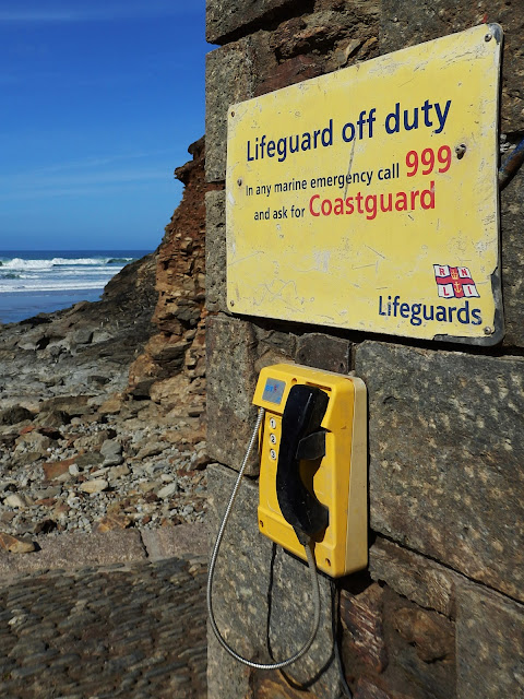 Coastguard telephone on Cornish beach