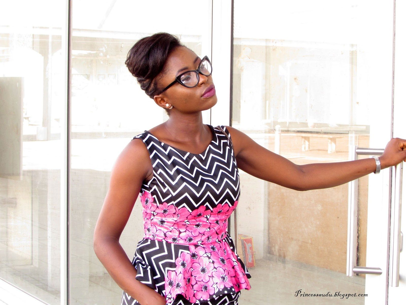 peplum top, florals, prints, cat eye frames, glasses