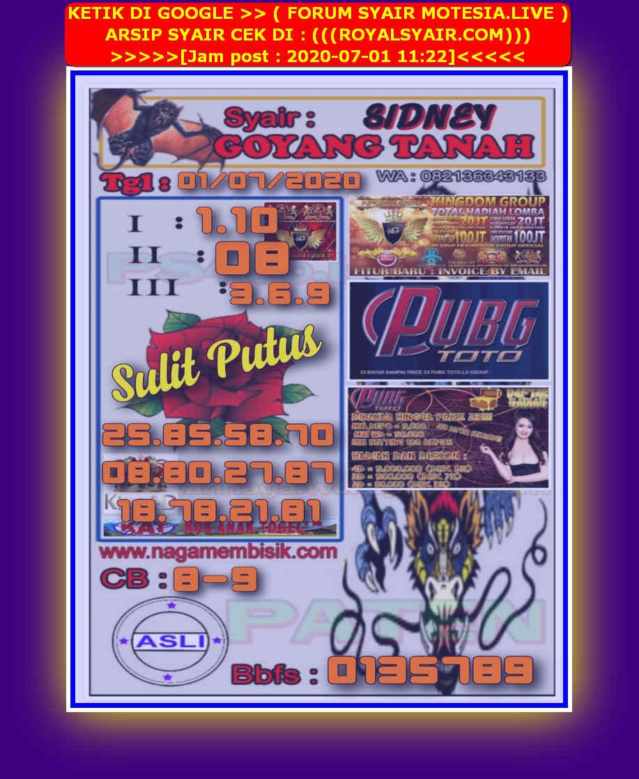 Kode syair Sydney Rabu 1 Juli 2020 16