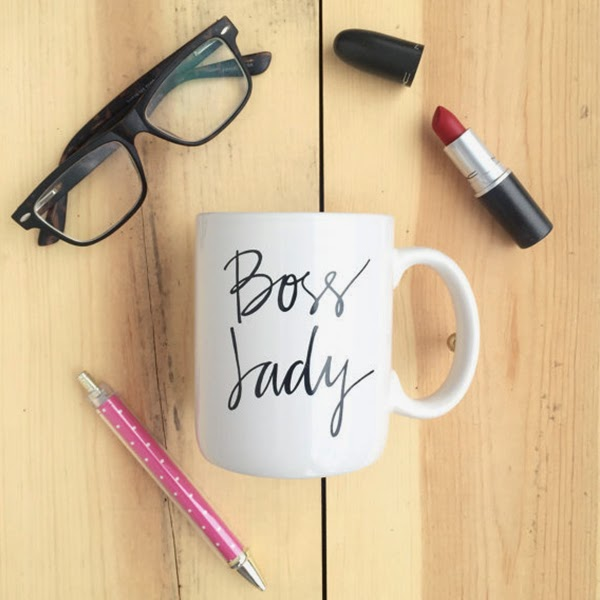 Cute Boss Lady Coffee Mug on Wooden Background with office accessories