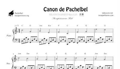 Canon de Pachelbel Partitura de Piano a 4 Manos (Profesor & Alumno) Partitura Pianistas Nivel Intermedio