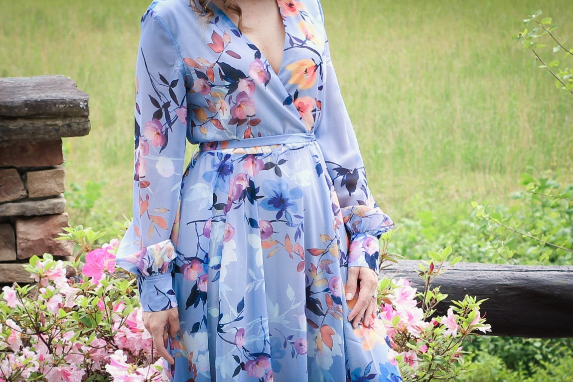 Laura Mintz with Illuminate Blog Styles Blue Chiffon Floral Maxi Dress from Chicwish