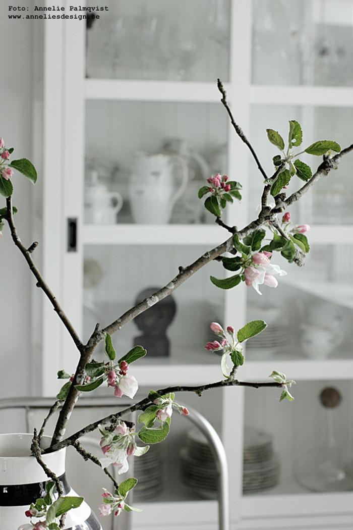 äppelkvist, äppelträd, svartvit vas, kähler, randig vas, kök, köket, matgrupp, matsal, krom, stolar, stol, vitrinskåp, matbord, annelies design, inredning, blogg, inredningsblogg, svart och vitt, svartvit, svartvita,