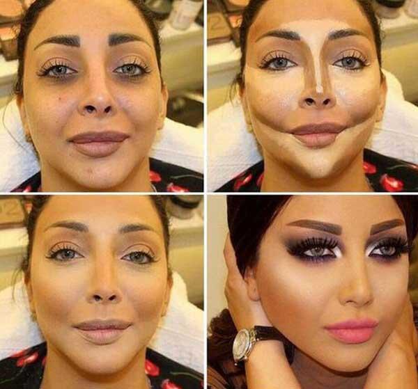 Maquillaje para adelgazar la cara antes y despues de perder